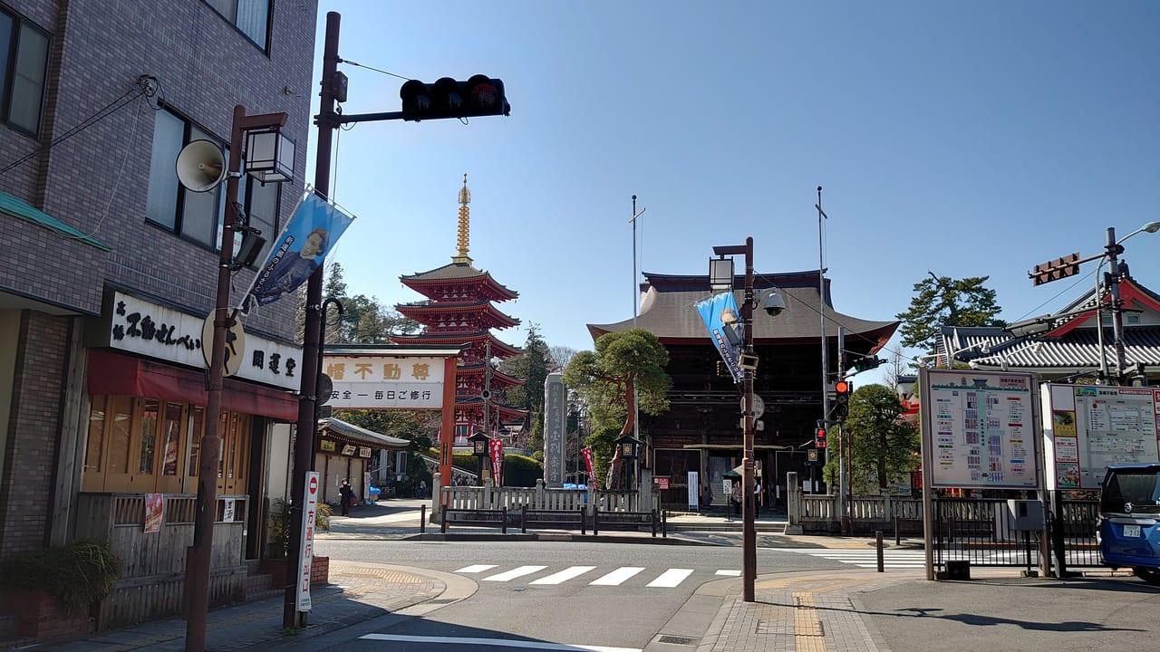 高幡不動尊参道から見る五重塔