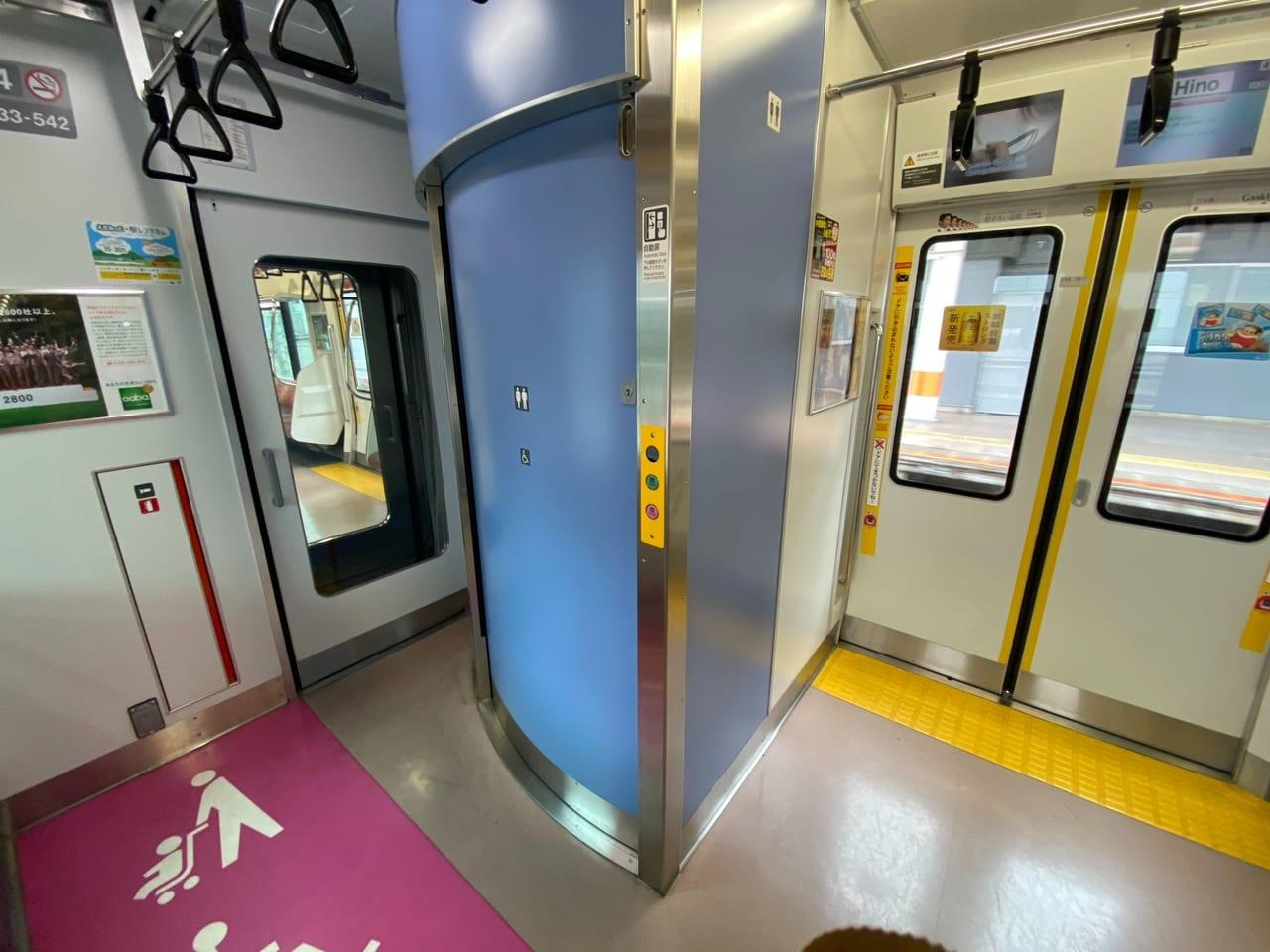 JR中央線の車両内のトイレ